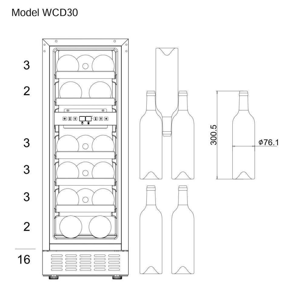 Vinkøleskab til indbygning - WineCave 30D Stainless