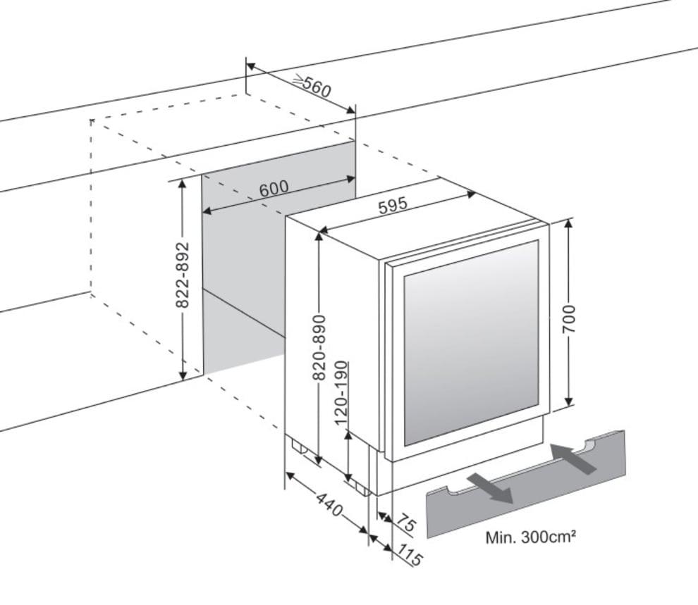 mQuvée Sisäänrakennettava viinikaappi – WineCave 700 60D Stainless