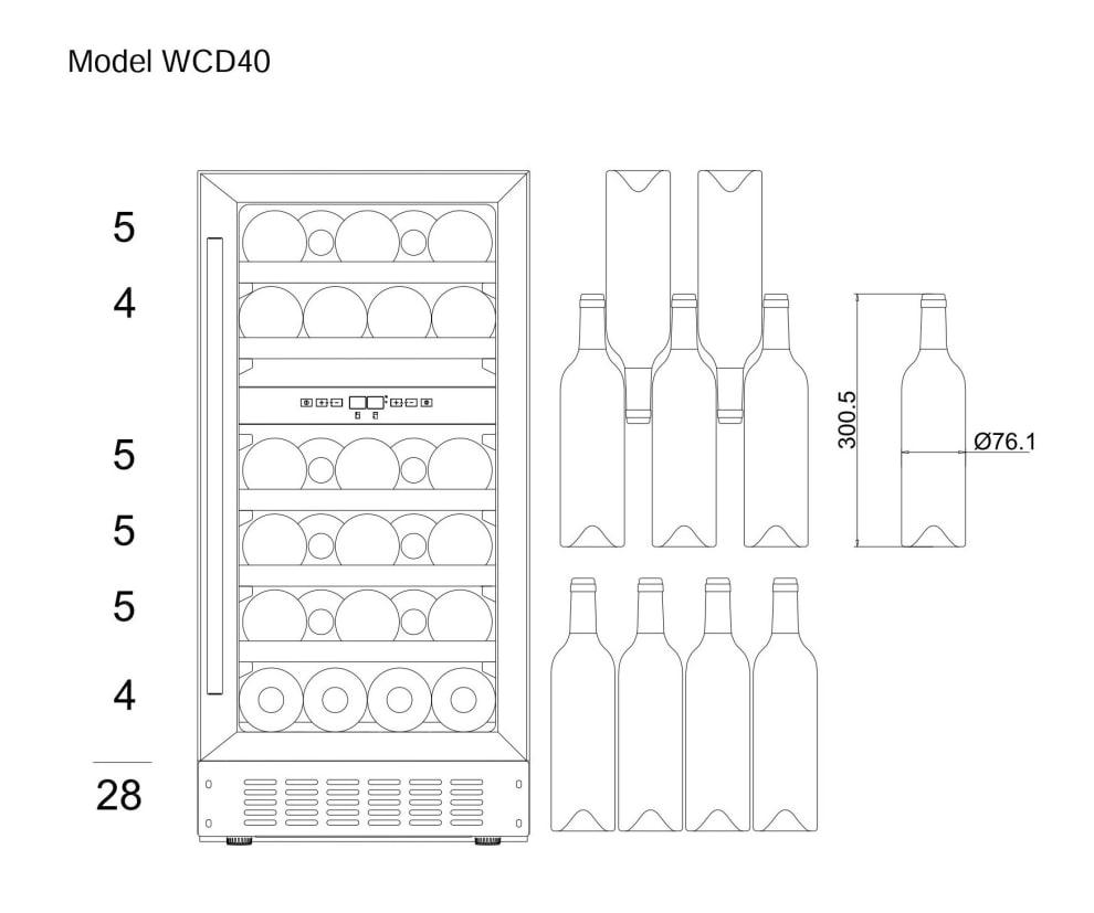 Inbyggbar vinkyl - WineCave 700 40D Anthracite Black