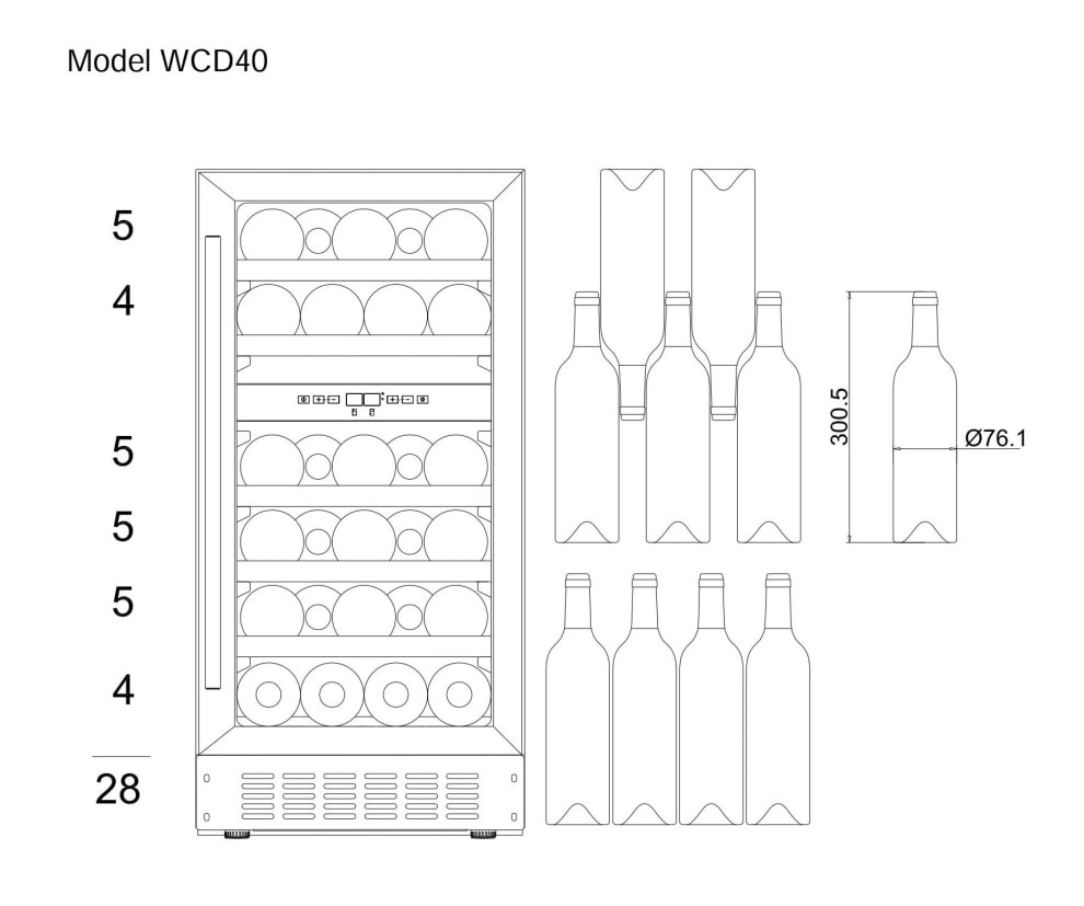 Innbyggbart vinskap - WineCave 700 40D Anthracite Black