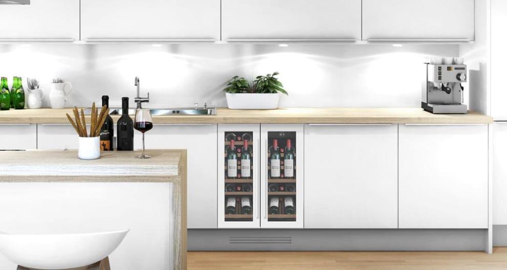 Einbau-Weinkühlschrank Präsentationsfach - WineCave 60D2 Powder White