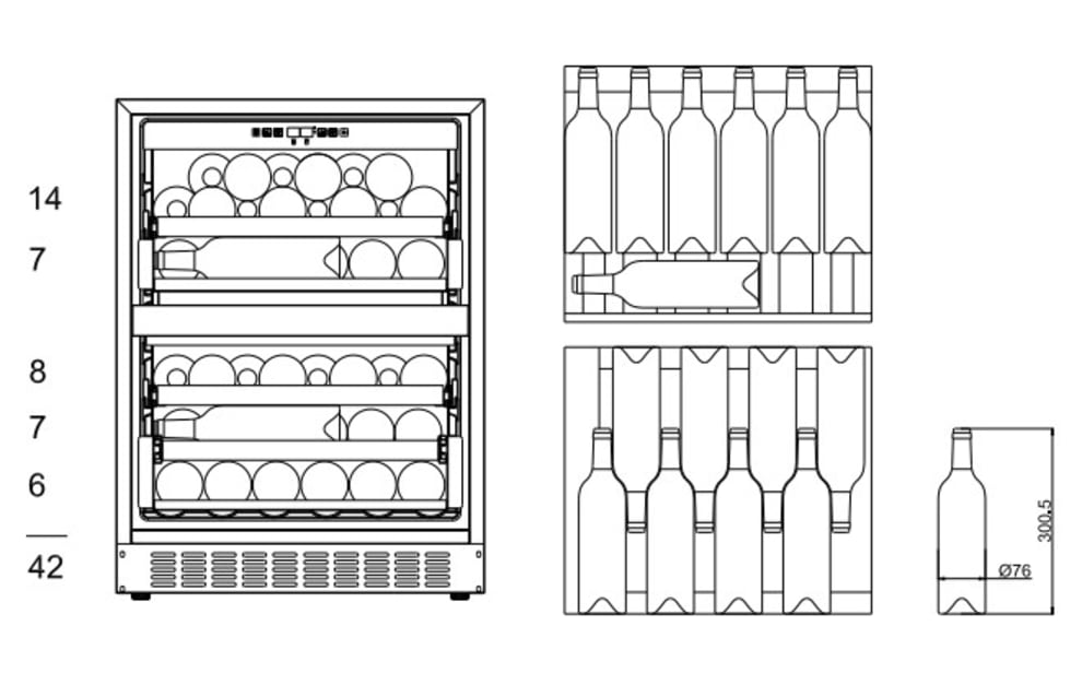 Einbau-Weinkühlschrank - WineCave 60DD Fullglass Black