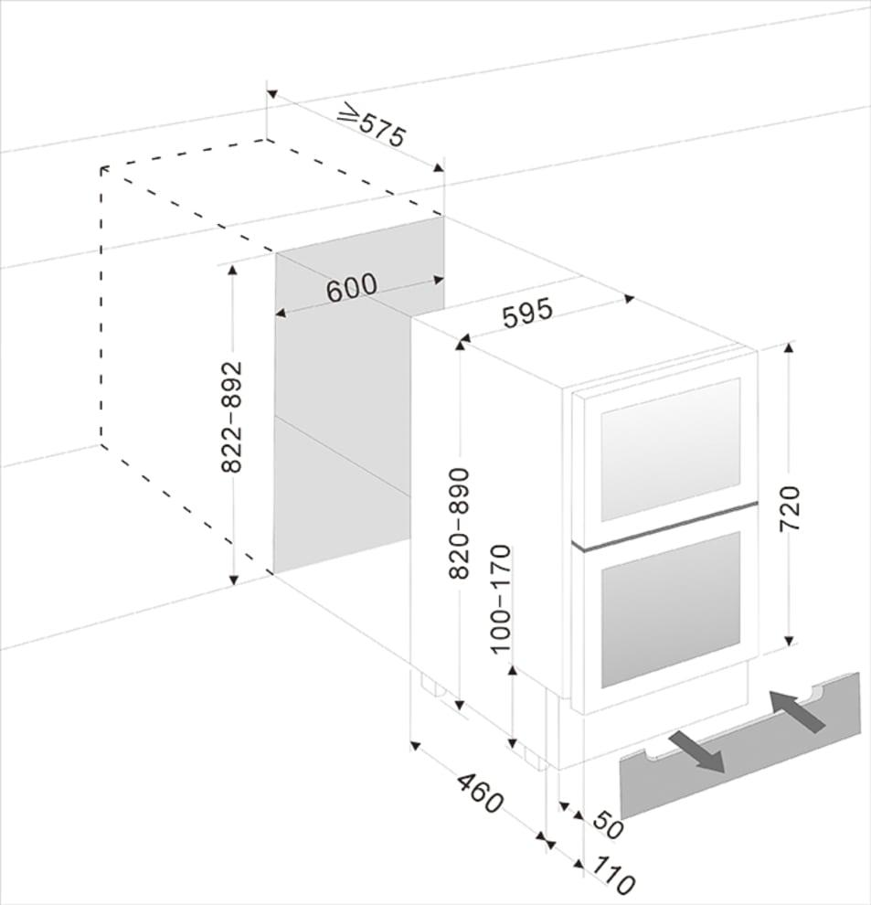 Inbyggbar vinkyl - WineCave 60DD Fullglass Black