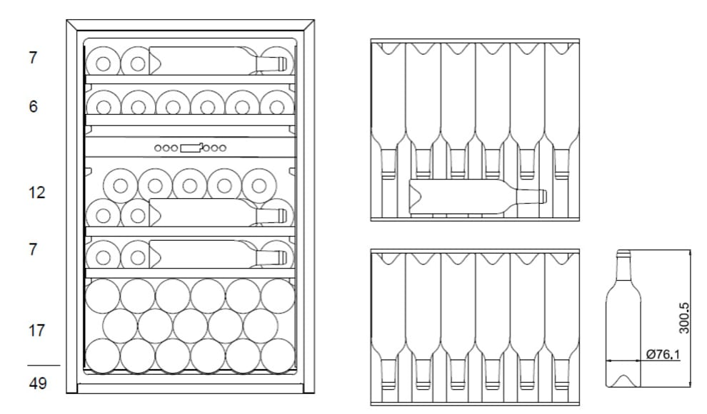 Integrérbart vinkøleskab - WineKeeper 49D Fullglass Black