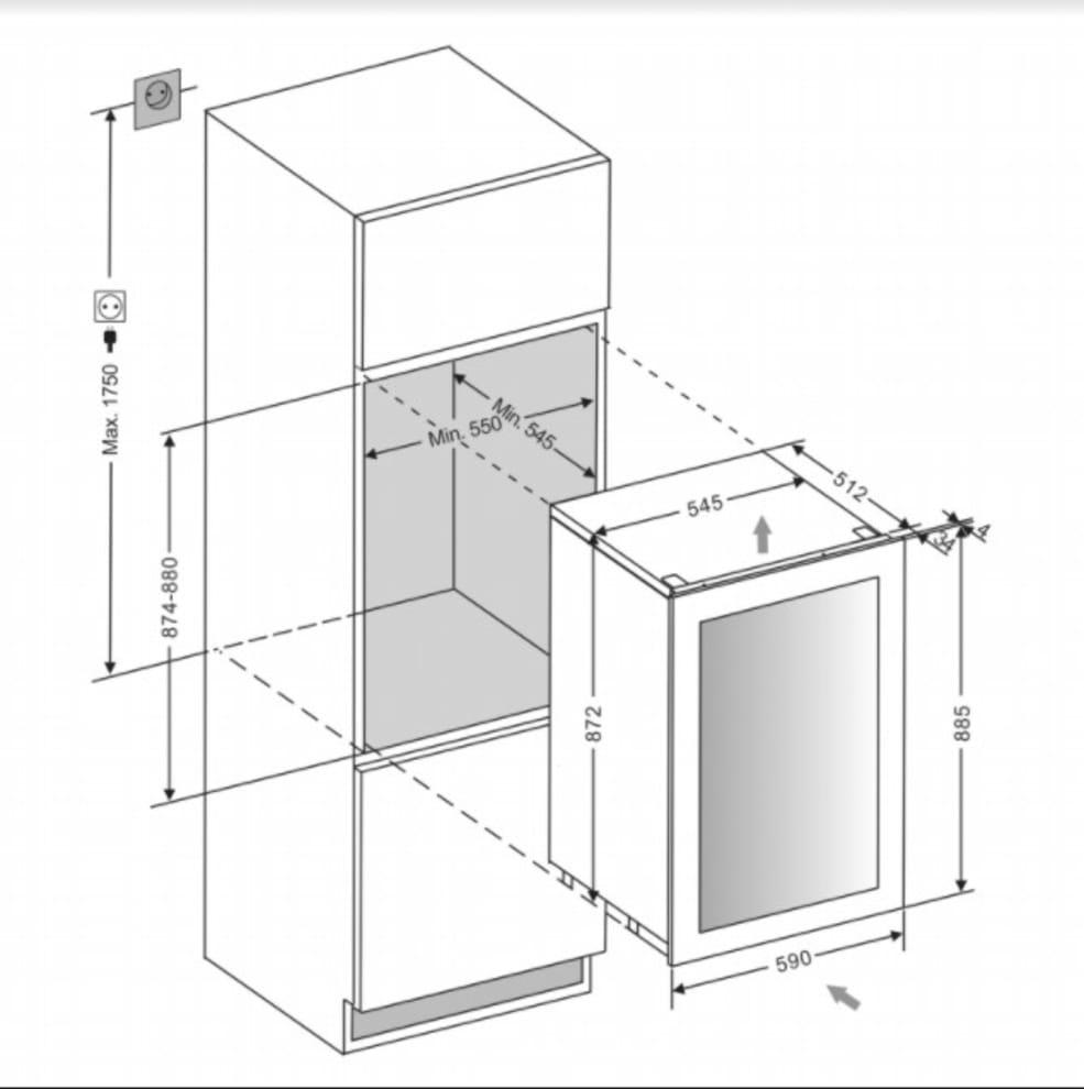 Integrérbart vinkøleskab - WineKeeper 49D Powder White