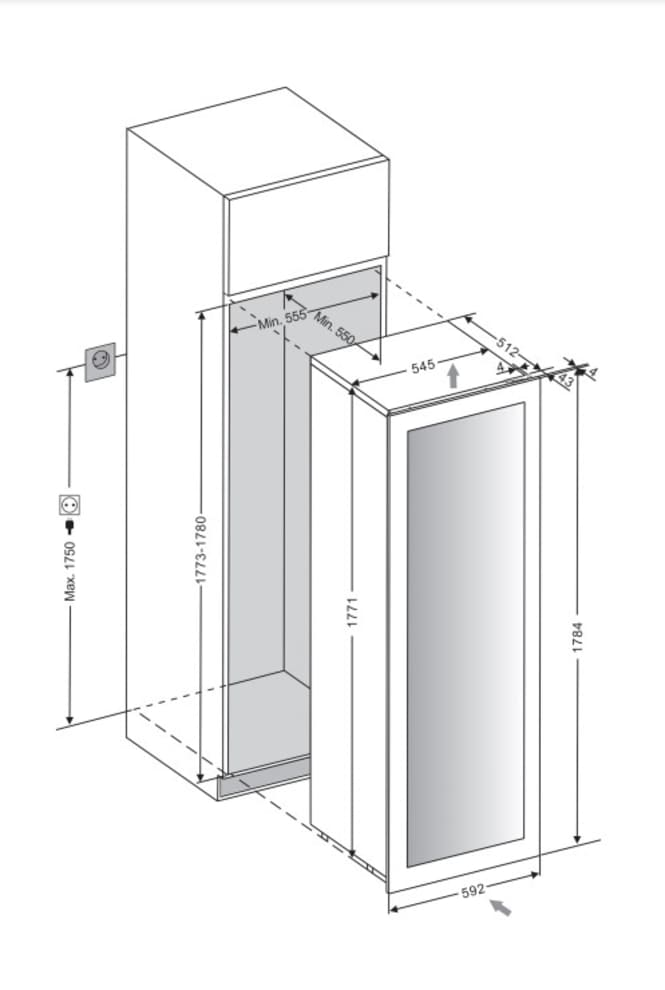 Integrierbarer Weinkühlschrank - WineKeeper 112D Fullglass Black Push/Pull