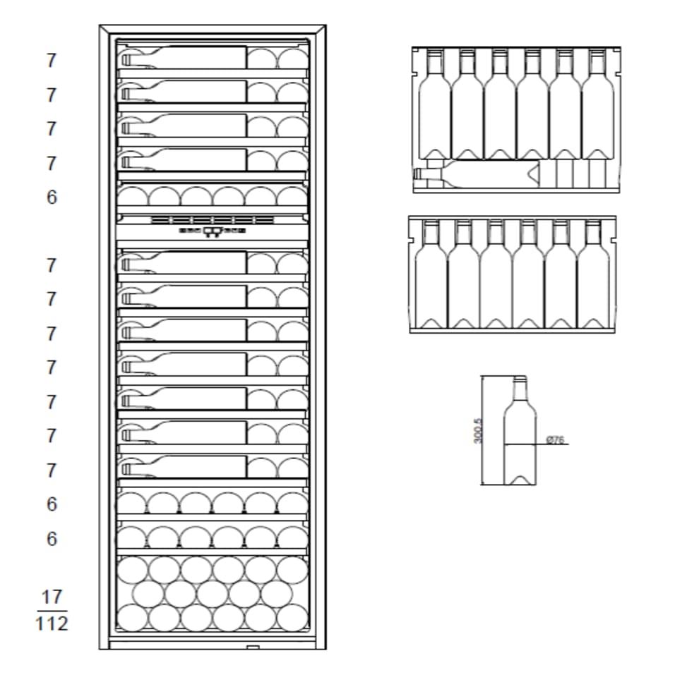 Vinoteca integrable mQuvée - WineKeeper Exclusive 112D Fullglass Black Push/Pull