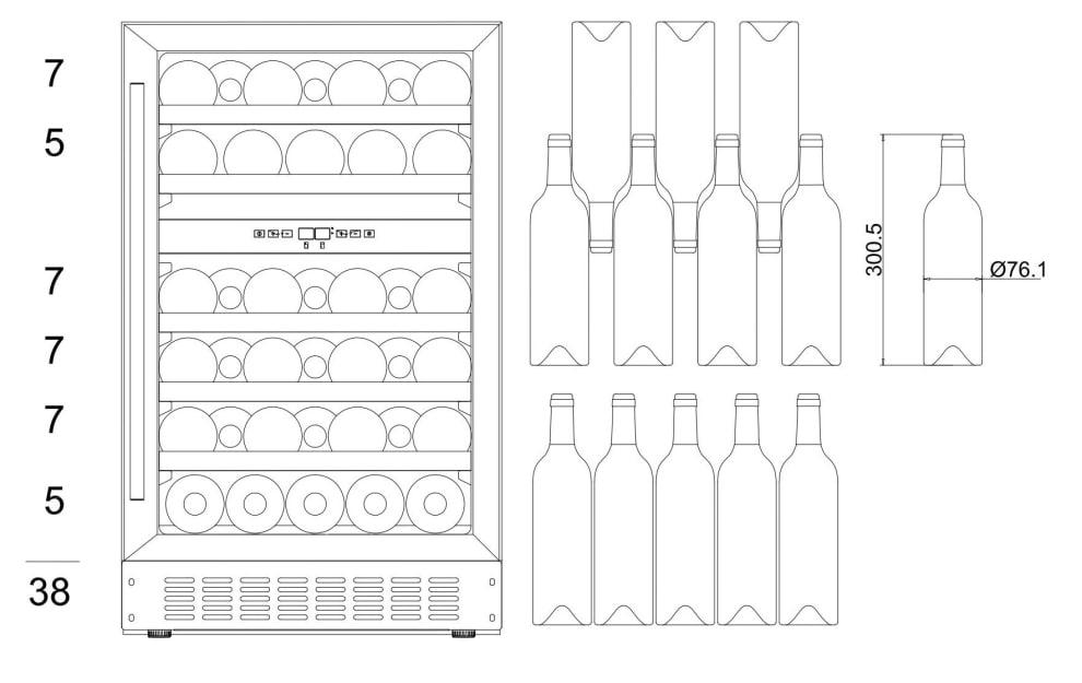 mQuvée innbyggbart vinskap - WineCave 700 50D Anthracite Black