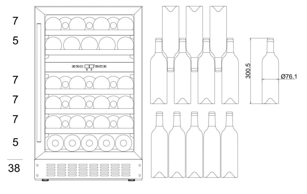 mQuvée Sisäänrakennettava viinikaappi – WineCave 700 50D Anthracite Black
