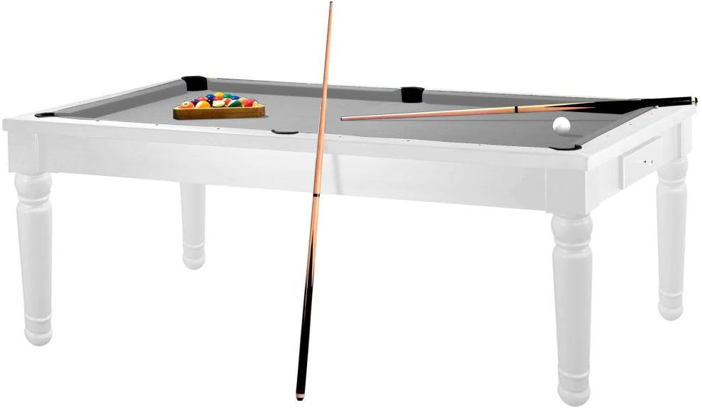 Biljardbord/Spisebord Tolouse 7 fot Hvit bord - Grå duk