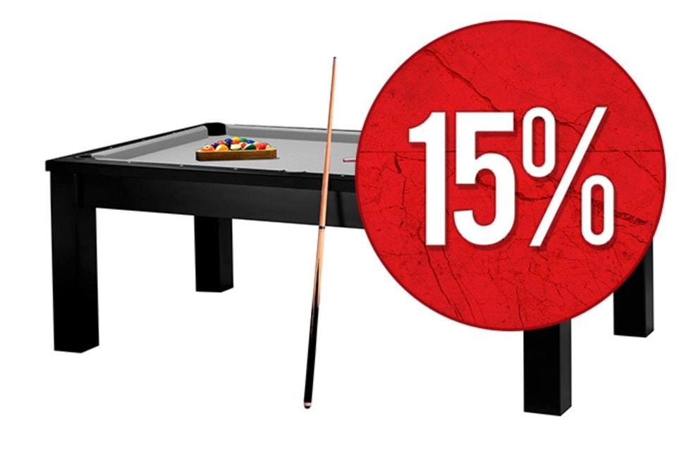 Biljardbord/Matbord Milano 7 fot Svart bord (Yttermått: 231x132 cm) - Grå duk