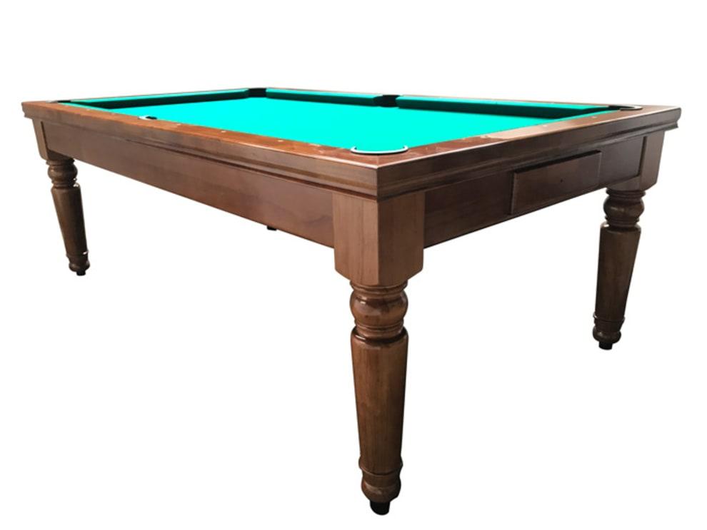 Billardborde/spisebord Tolouse 7 fot Brunt/Teak bord - Grøn billardbeklædning