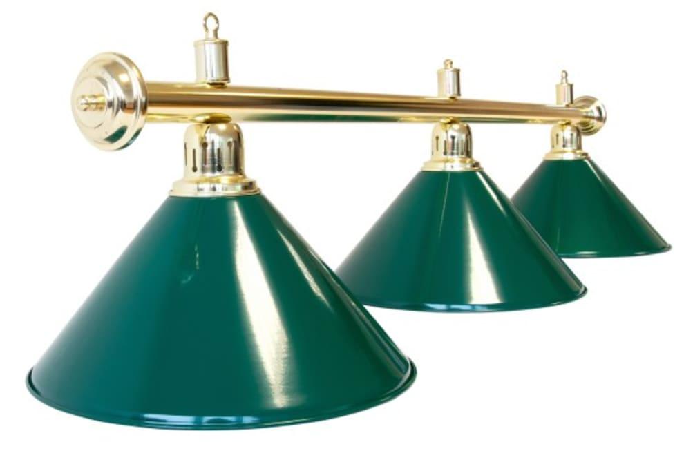 """Biljardlampe """"Evergreen"""", grøn, 3 skjermer, Ø35 cm, 112 cm"""