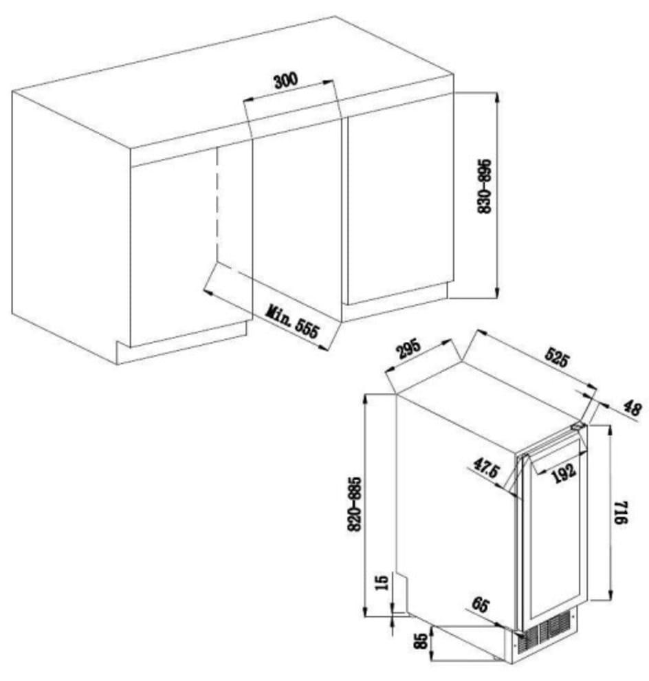 Sisäänrakennettava viinikaappi - AVU23TXA