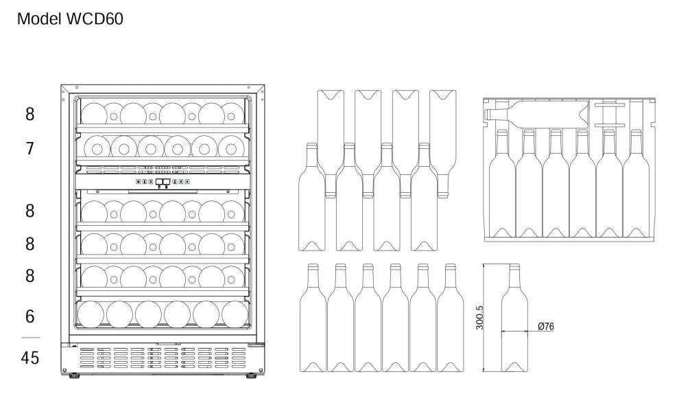Innbyggbart vinskap - WineCave 60D Powder White