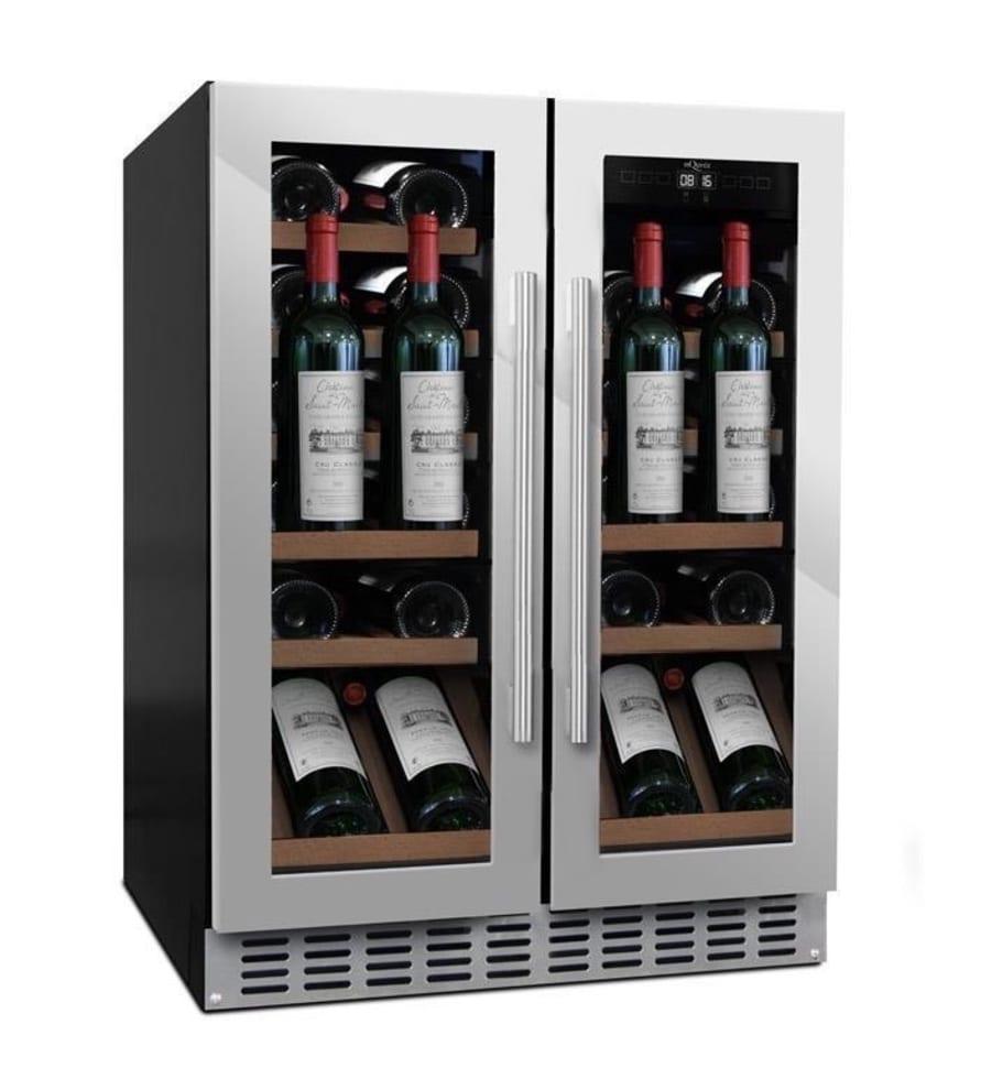 mQuvée Sisäänrakennettava viinikaappi esittelyhyllyllä – WineCave 60D2 Stainless