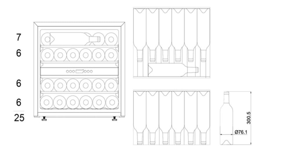 mQuvée integrérbart vinkøleskab – WineMaster Exclusive 25D Fullglass Black Push/Pull