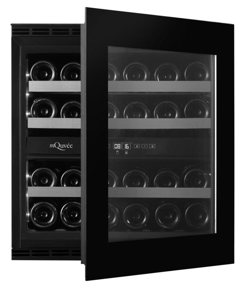 mQuvée Integrierbarer Weinkühlschrank - WineKeeper Exclusive 25D Fullglass Black Push/Pull