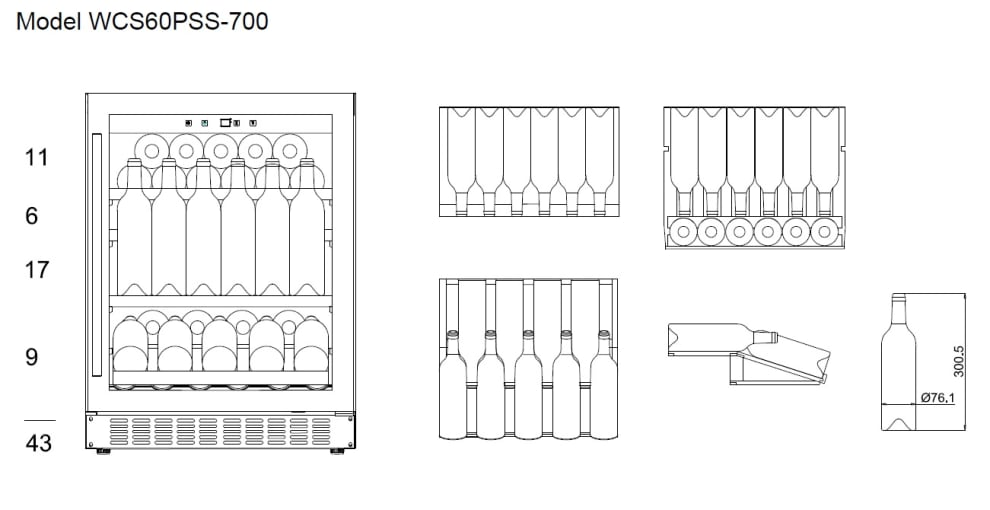Inbyggbar vinkyl Presentationshylla - WineCave 700 60S Stainless