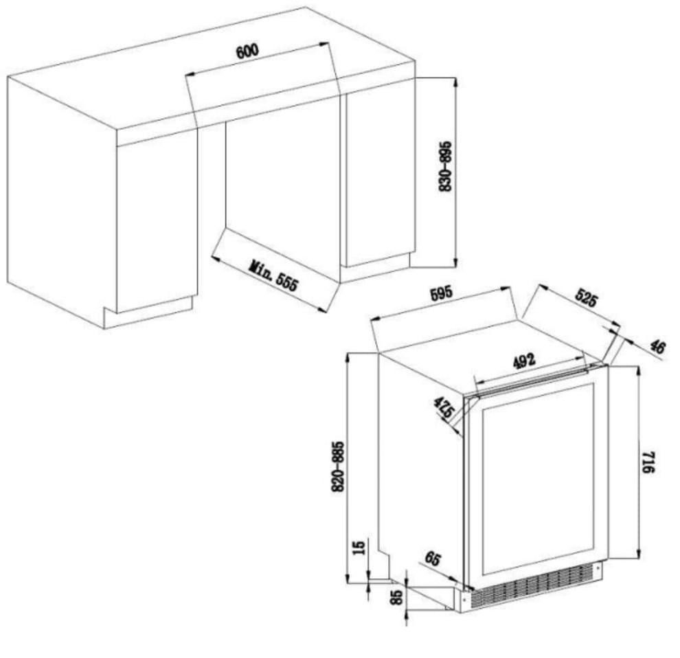 Sisäänrakennettava viinikaappi – AVU54TXDZA
