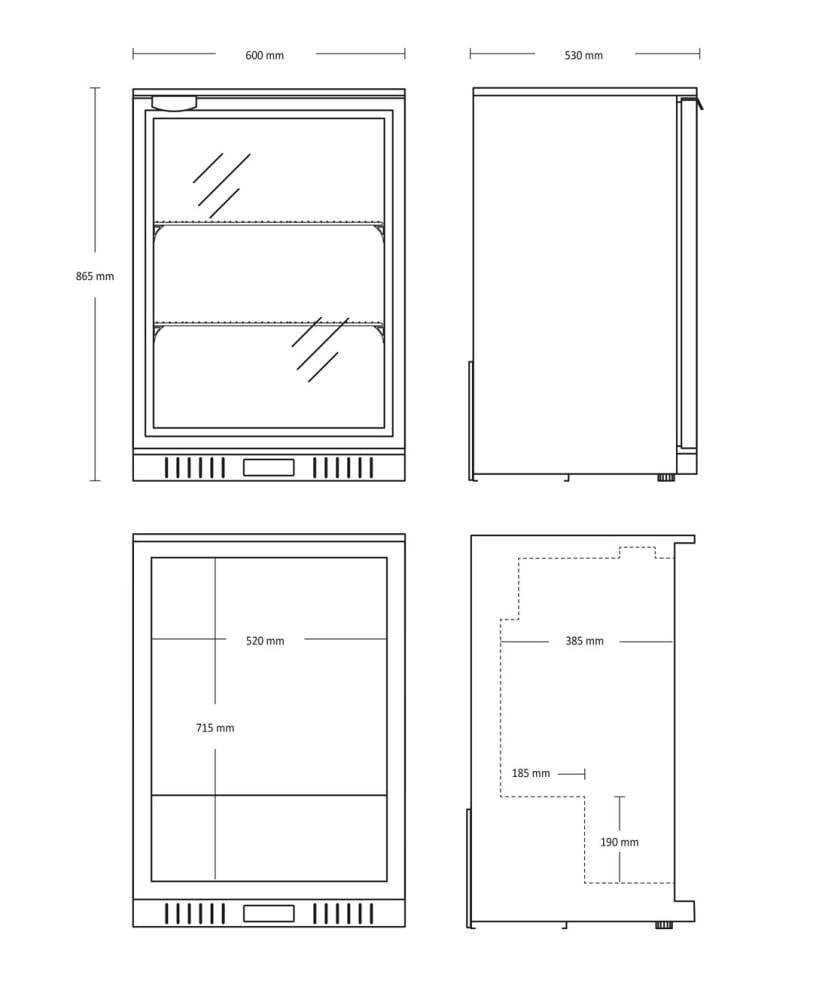 Enkelt barkøleskab 118 L