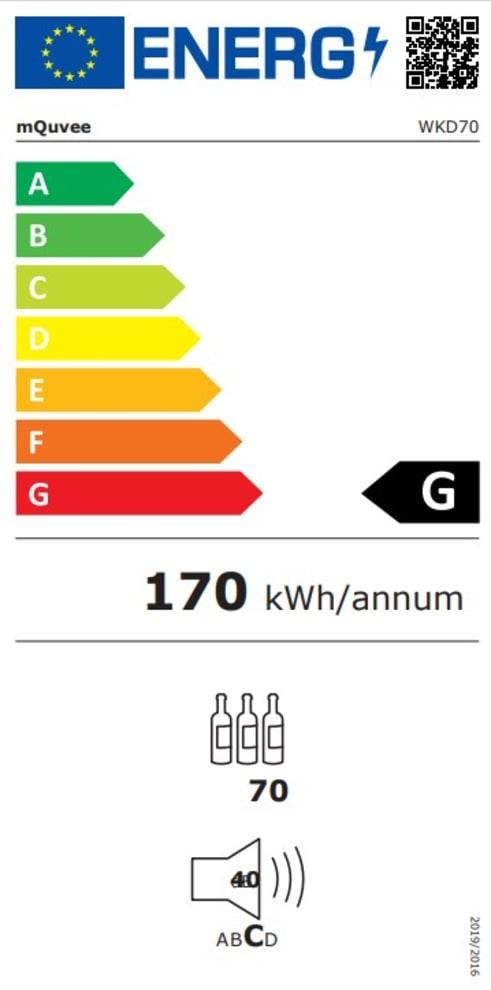 mQuvée integrérbart vinkøleskab - WineKeeper 70D Anthracite Black