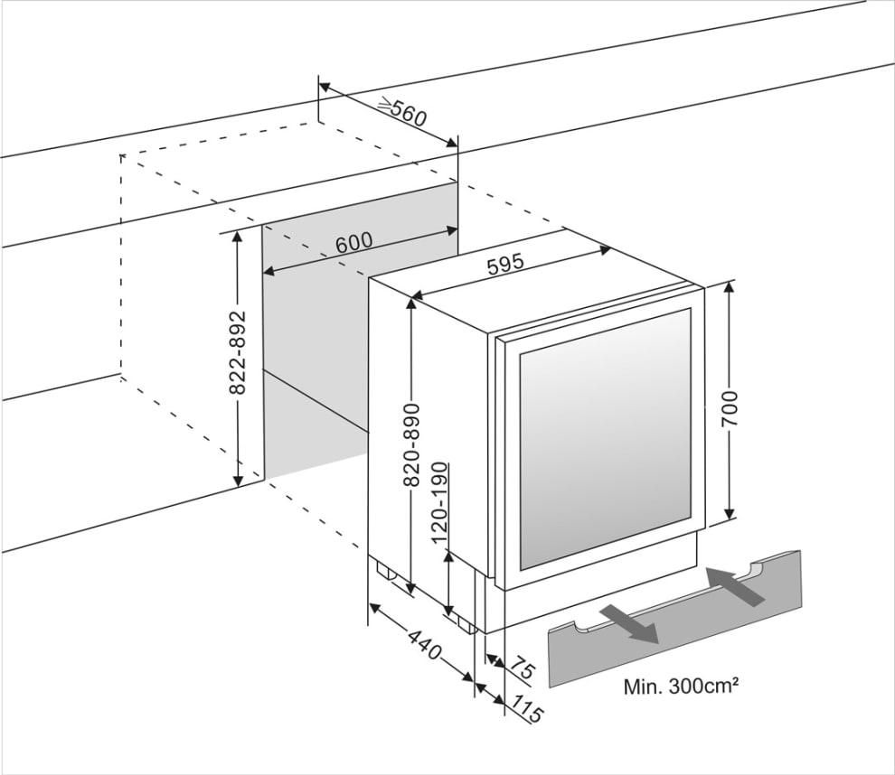mQuvée Ølkøleskab til indbygning - BeerServer 700 60 cm Rustfritt stål