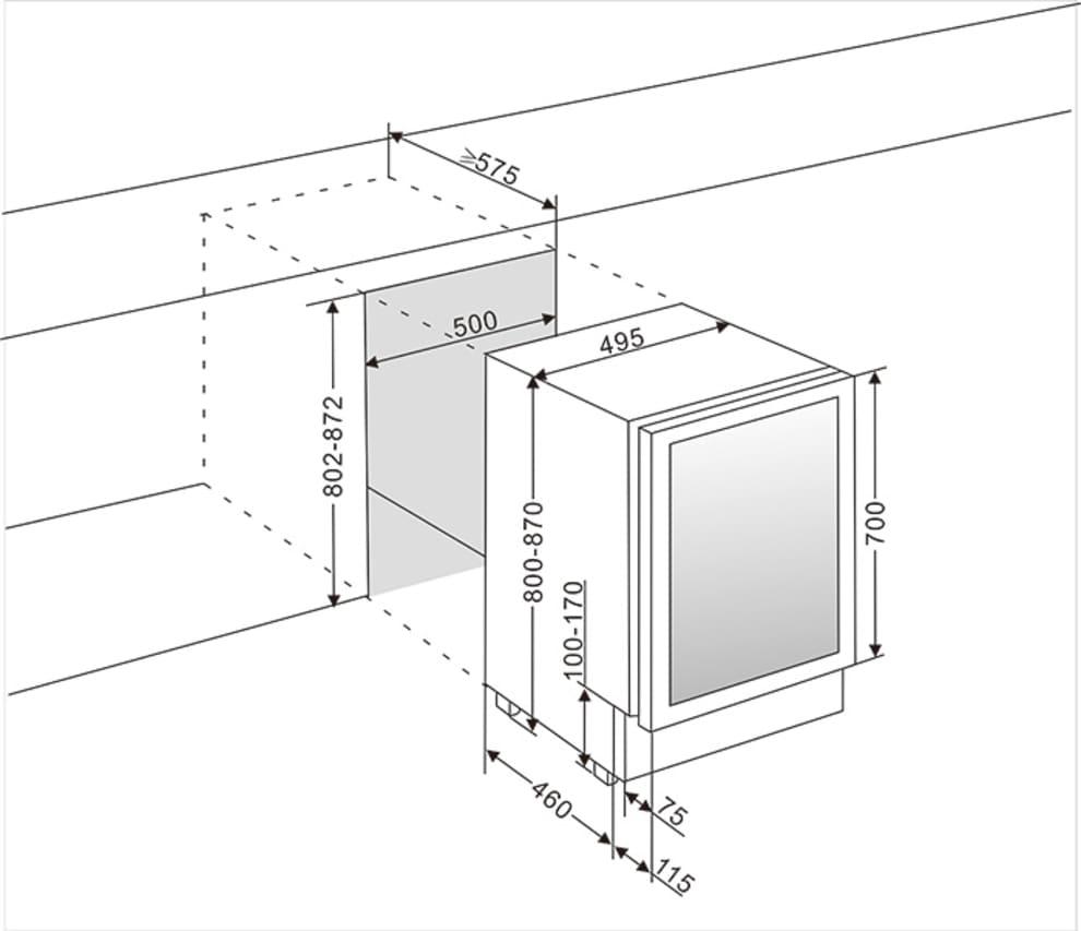 mQuvée vinkøleskab til indbygning - WineCave 700 50D Stainless