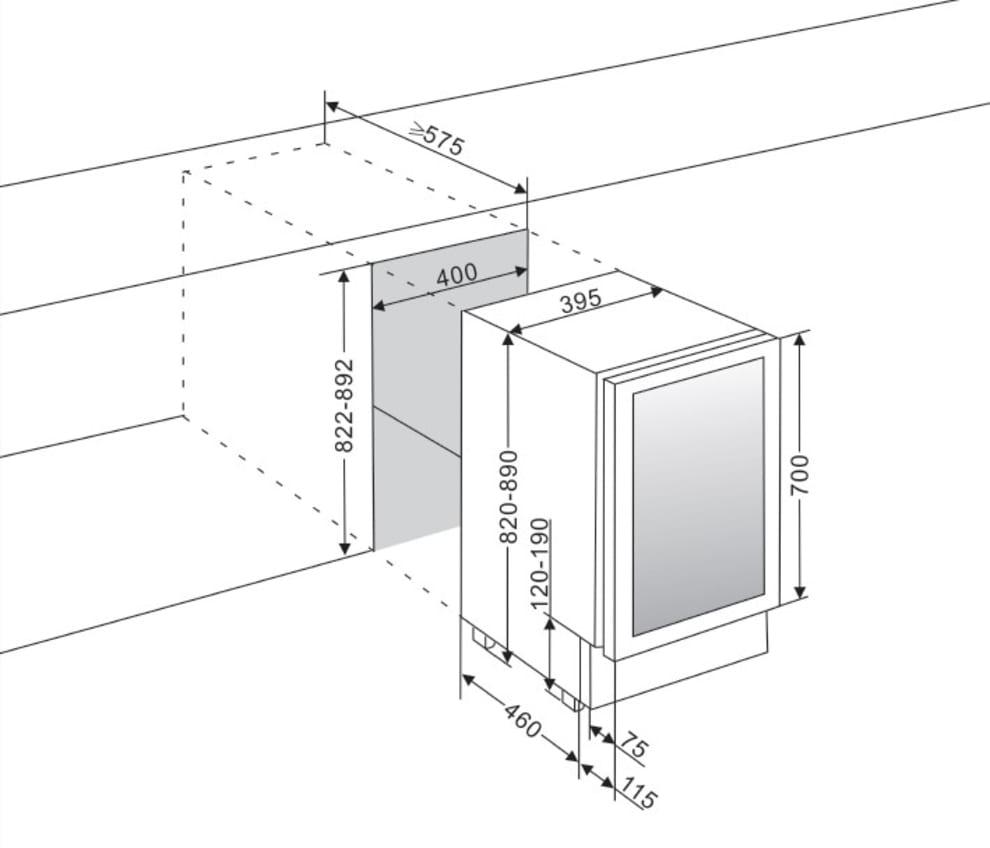 Vinkøleskab til indbygning - WineCave 700 40D Modern