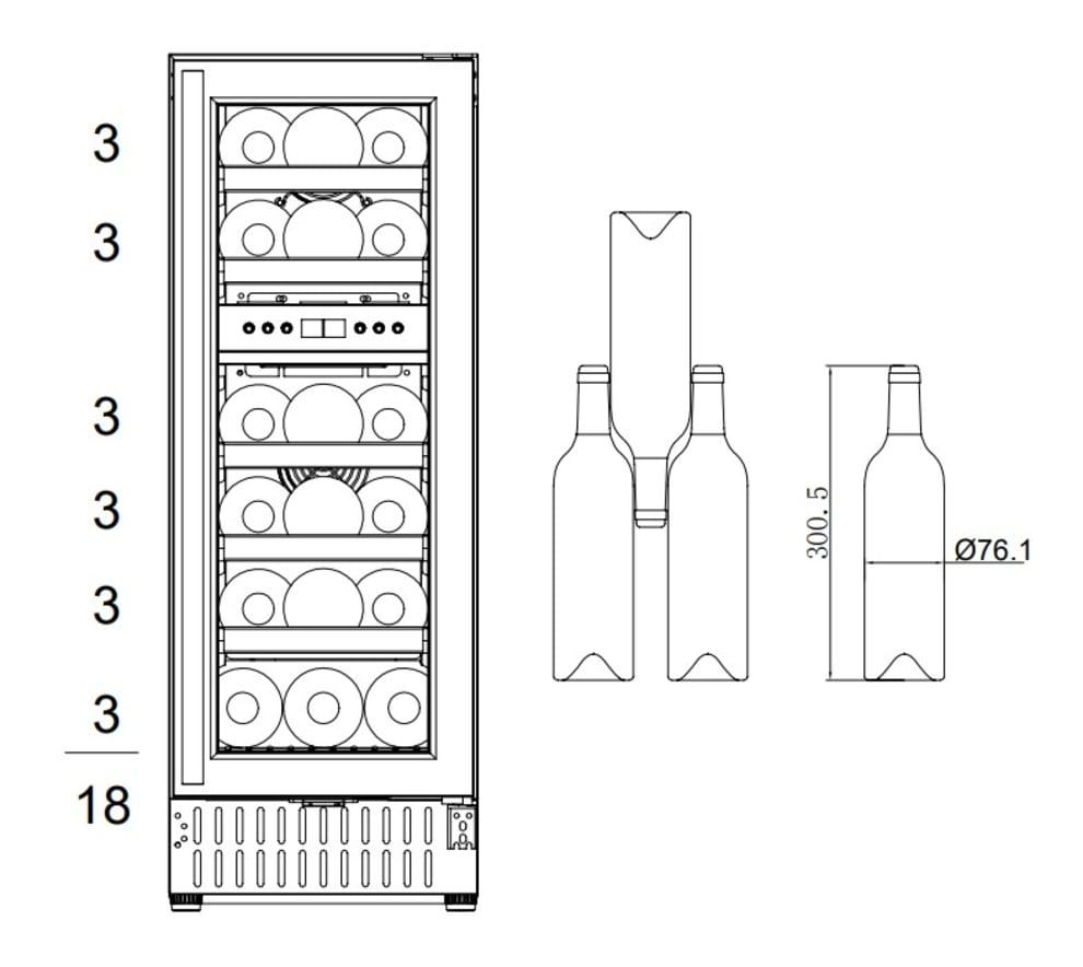 Sisäänrakennettava viinikaappi – Scandinavian Collection 30 Fullglass Black