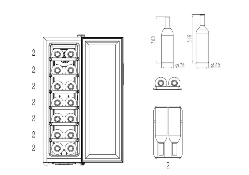 Cavin fritstående termoelektrisk vinkøleskab - Northern Collection 14 Black