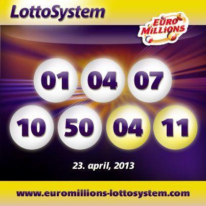 EuroMillions Lotteriet lodtræknings resultater for tirsdag 23 april, 2013
