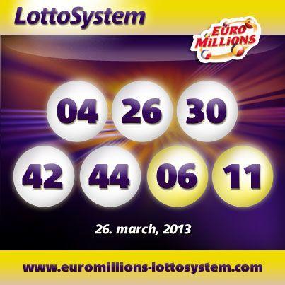 EuroMillions Superdraw vindertal 26 Mar 2013, tirsdag lodtrækning