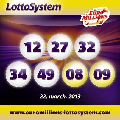 EuroMillions Superdraw resultater fredag 22. marts 2013