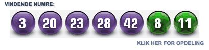 Euromillions Lotteriet Danmark, vindertal for 8 mars 2013