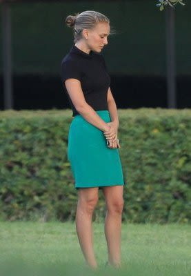 EXCLUSIVE: Natalie Portman shows off her new blonde locks while filming in Austin, TX