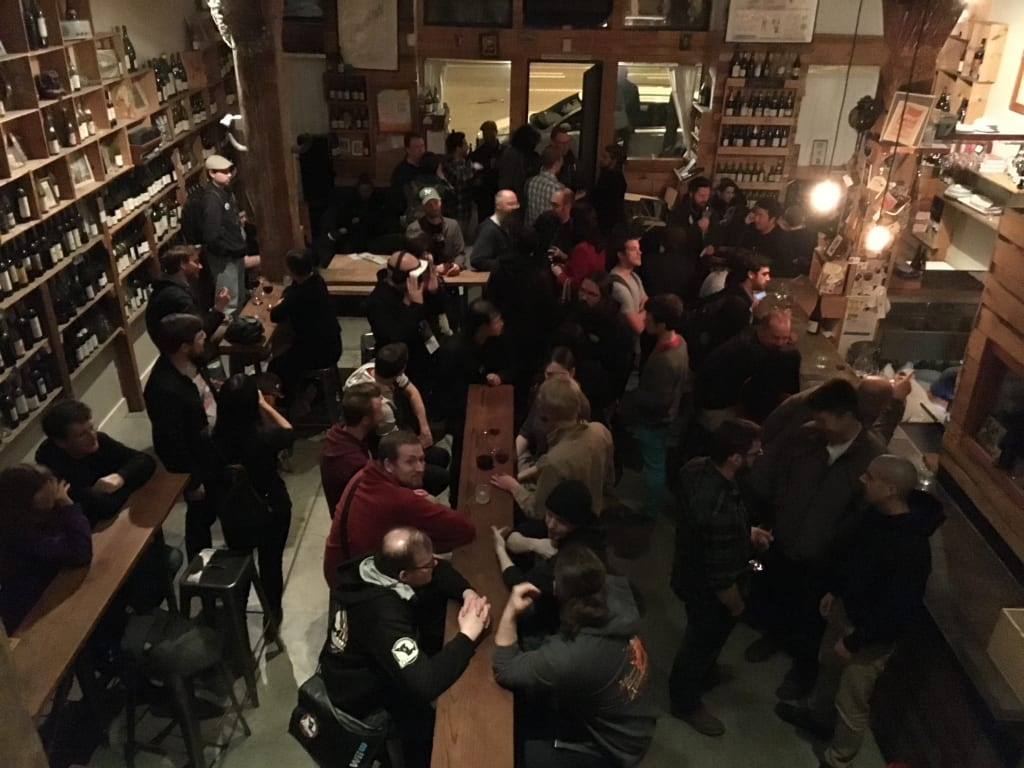 GDC2016's Monday night VGM mixer at Terroir, San Francisco.