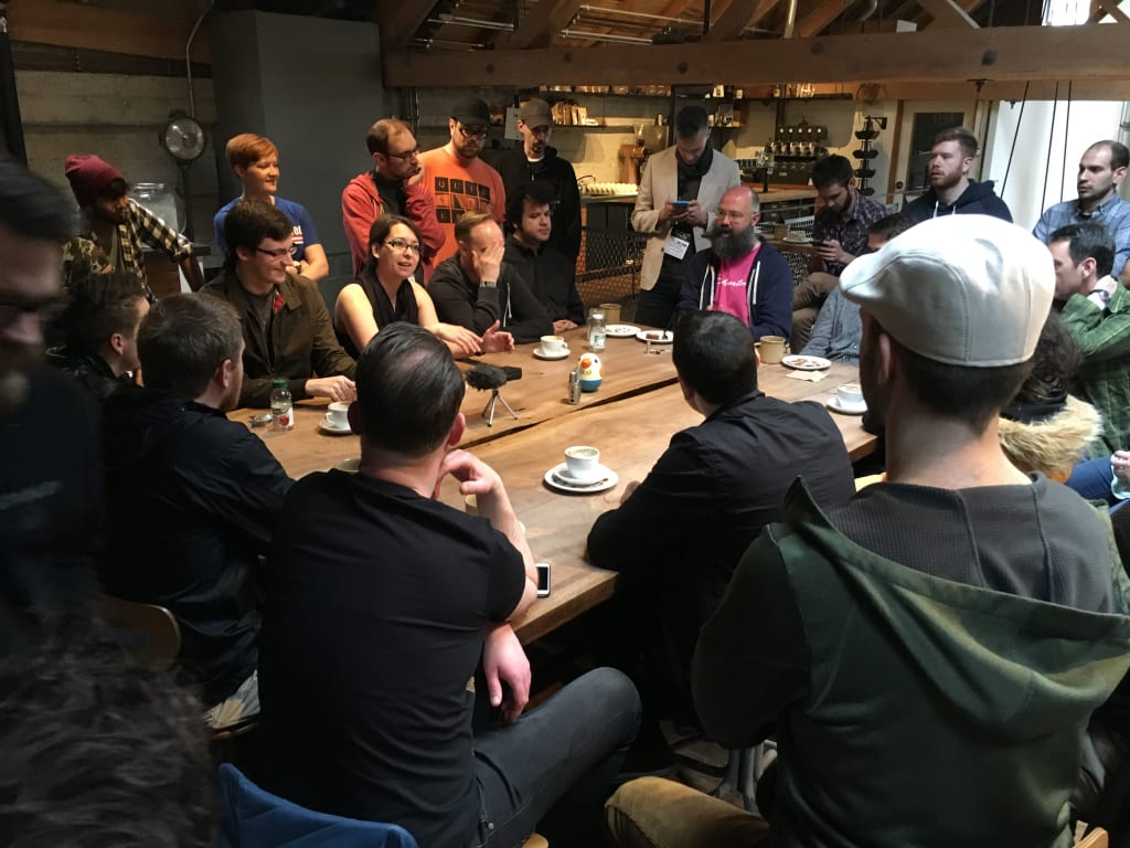 GDC 2016 morning roundtable at Sightglass, Saturday edition.