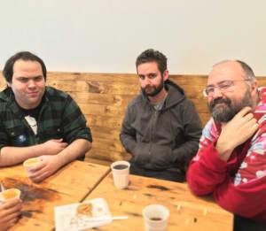Surprise, slightly grumpy coffee at Street Bean with Chris P.
