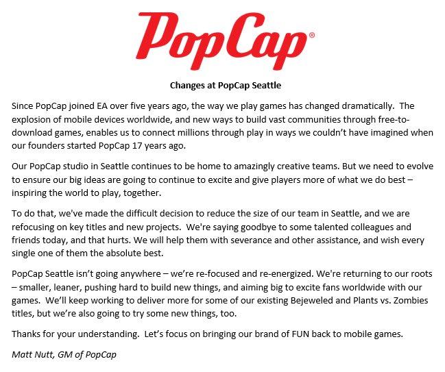 A message re: the 05/2017 PopCap layoffs.