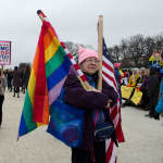 Woman with flags, Women's March