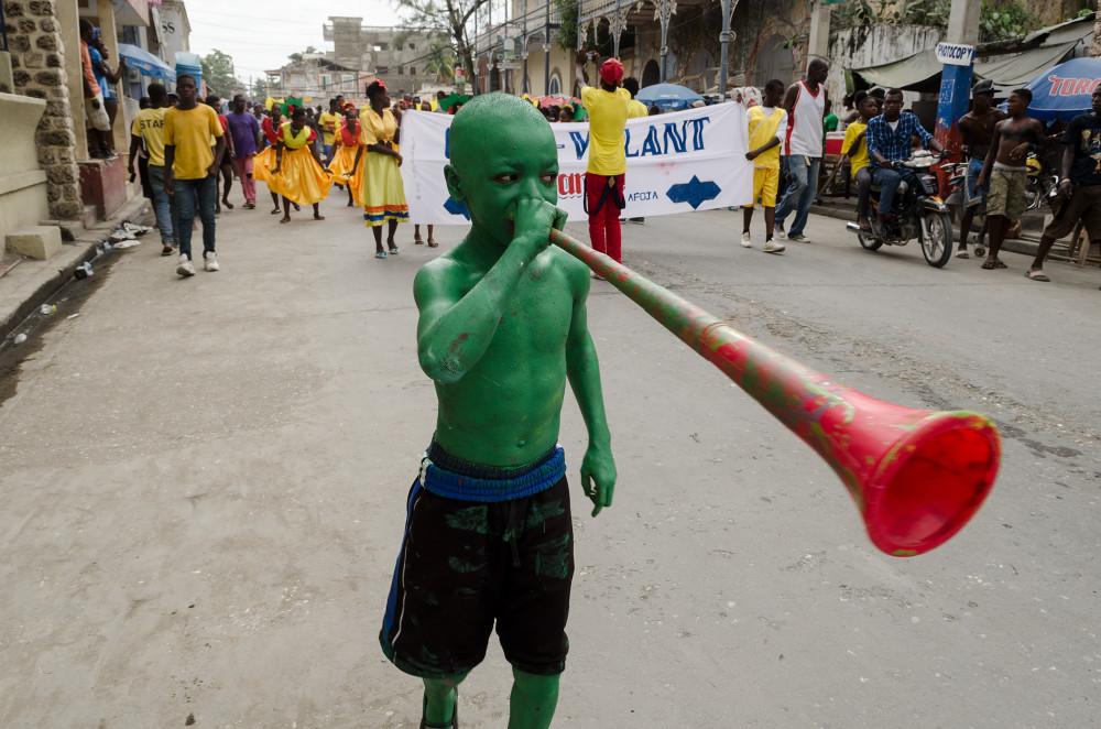 Green boy horn