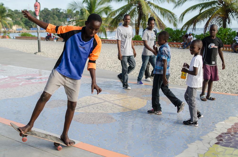 Haitian skateboarder