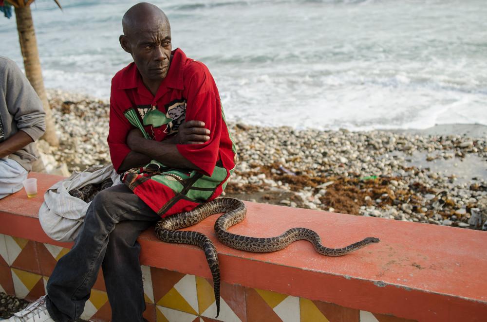 Snake handler in Jacmel