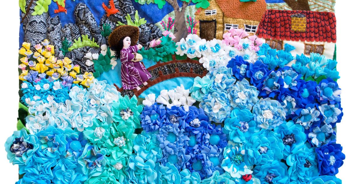 blue flower field arpillera