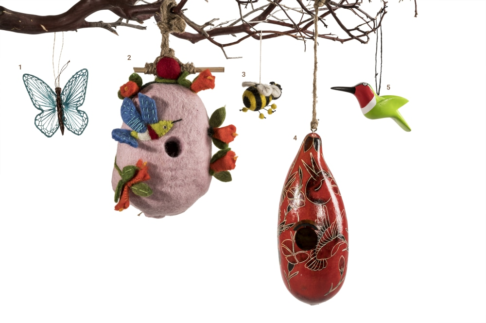 pollinator ornaments and birdhouses