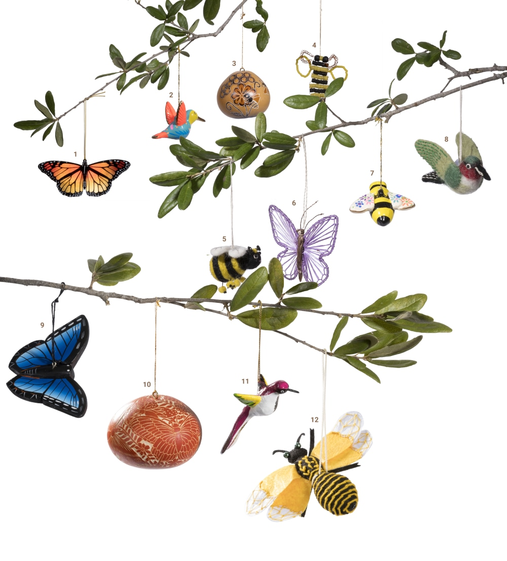 pollinator ornaments  on branch fair trade