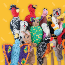 new fair trade knitted puppet sets