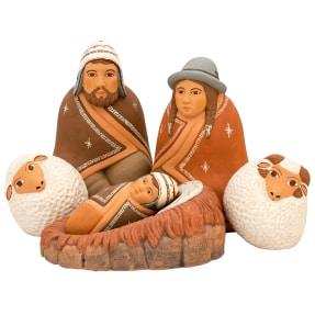rounded ceramic nativity