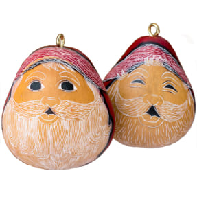santa smiles mini gourd ornament